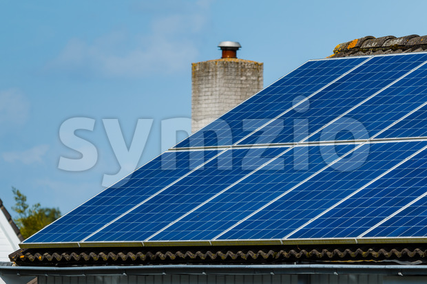 Solar panels roof house Stock Photo