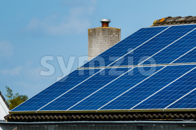 Solar panels roof house Stock Photo