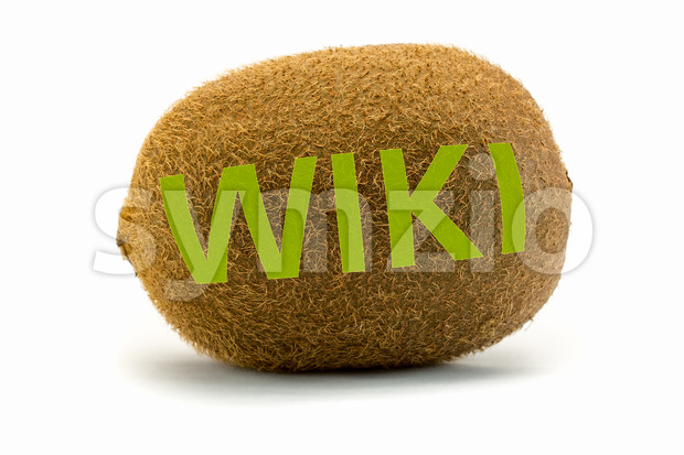 Concept wiki on kiwi Encyclopedia wikipedia green Stock Photo