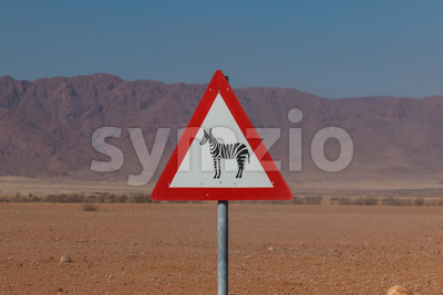Roadsign zebra crossing in africa Stock Photo
