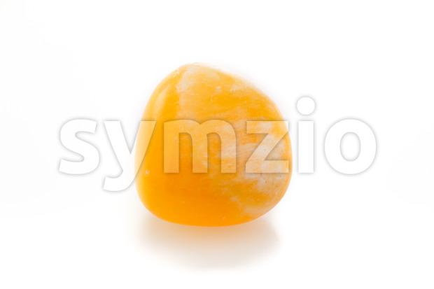 Bright orange calcite on a white background.