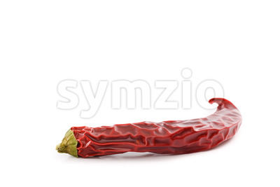 Dried red hot chili pepper white surface Stock Photo