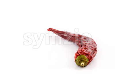 Dried red hot chili pepper studio curved Stock Photo