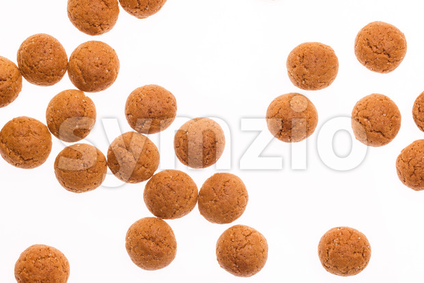 Throwing pepernoten isolated Stock Photo