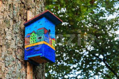 Colorful birdhouse canal houses view side Stock Photo