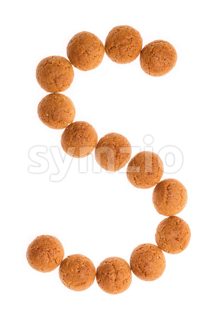 Character letter S pepernoten isolated Stock Photo
