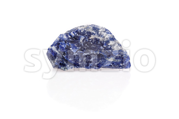 Blue black white sodalite gem rough isolated Stock Photo