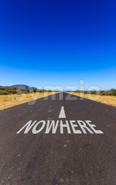 Road to nowhere text Namibia Africa Stock Photo