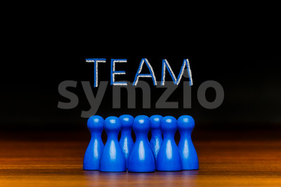 Concept blue team, teamwork, collaboration chalk text Stock Photo