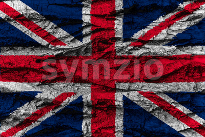 United Kingdom national flag painted wooden bark tree Stock Photo