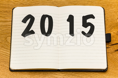 Empty pages notebook new year Stock Photo