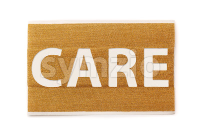 Band aid strip care text Stock Photo