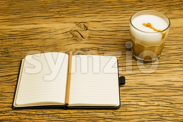 Concept empty notebook plan coffee Stock Photo