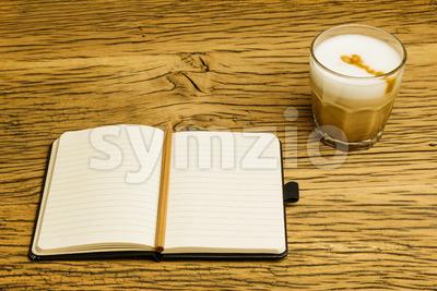 Concept empty notebook plan coffee Stock Photo