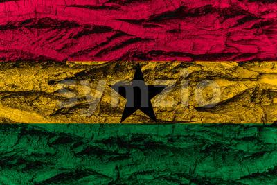 Ghana national flag painted wooden bark tree Stock Photo