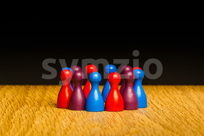 Concept for team blue red purple Stock Photo