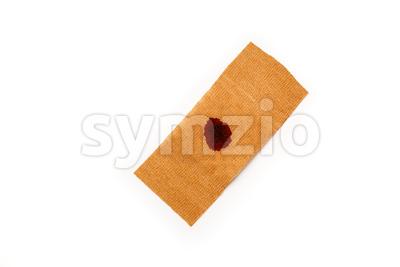 Band aid blood isolated white Stock Photo