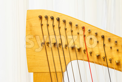 Celtic harp close-up lever and strings Stock Photo