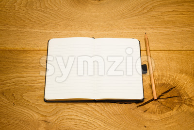 Empty pages notebook pencil on desk copy space Stock Photo