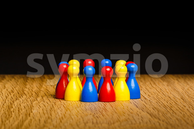 Concept teamwork red yellow blue Stock Photo