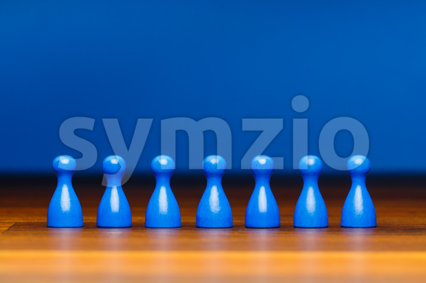 Concept team, business, organization, blue on wood Stock Photo