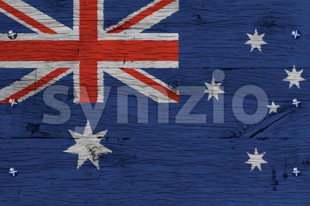 Australia national flag painted old oak wood fastened Stock Photo