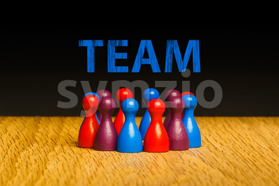 Concept for team blue red purple text Stock Photo