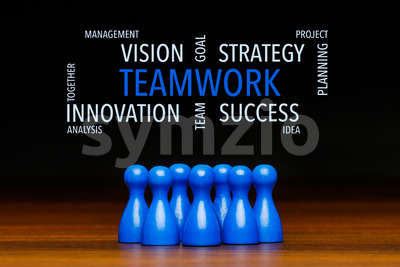 Concept blue teamwork text cloud Stock Photo