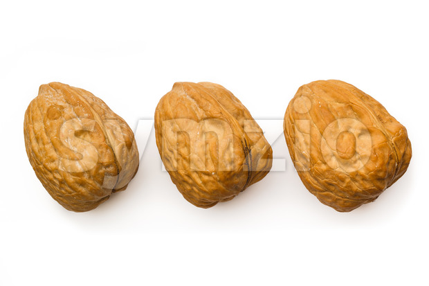 Three walnut isolated white top Stock Photo