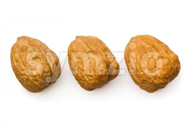 Three walnut isolated white top Stock Photo