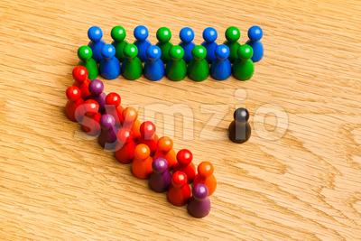 Concept adoration, diversity, competition, leader, leadership, presentation oak background Stock Photo