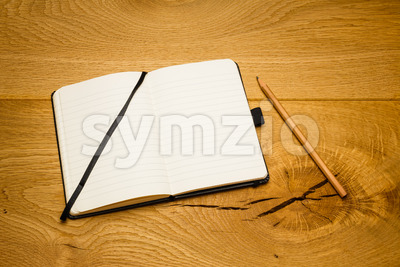 Empty pages notebook skew on desk Stock Photo