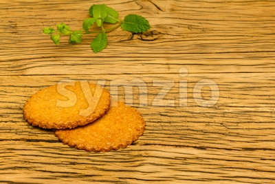 Healthy tasty cookies wood decoration Stock Photo