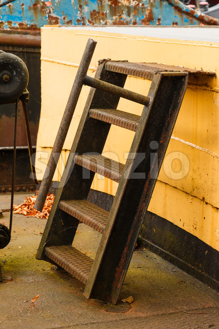 Old boat rusty ladder Stock Photo
