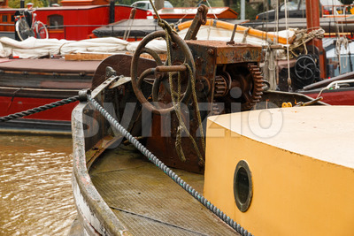 Old boat equipment fore deck Stock Photo