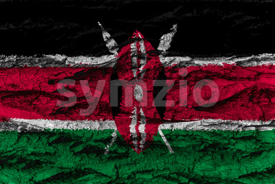 Kenya national flag painted wooden bark tree Stock Photo