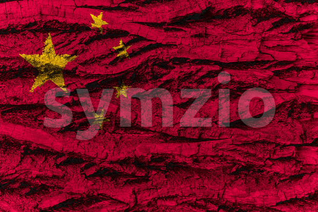 China national flag painted wooden bark tree Stock Photo