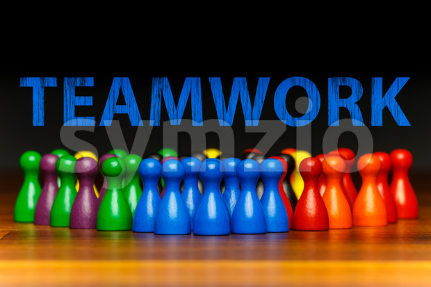 Concept teamwork, organization, group multi color text Stock Photo