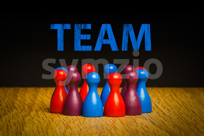 Concept for team blue red purple text spotlight Stock Photo