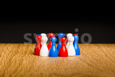 Concept teamwork red white blue Stock Photo