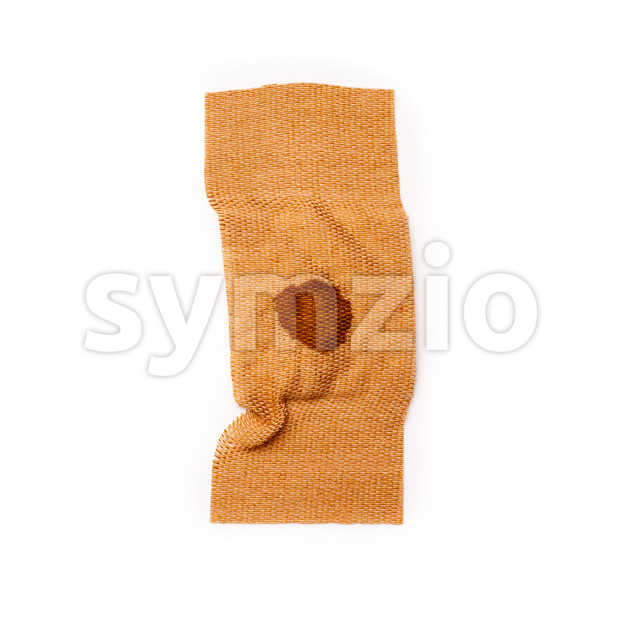 Band aid tear off with dried blood isolated on a white background. Wound, cure, care, help, relief.