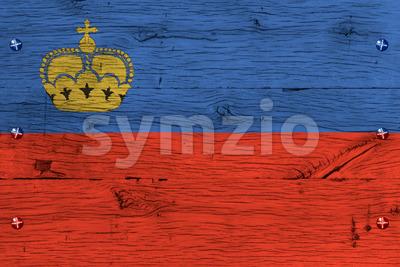 Liechtenstein national flag painted old oak wood fastened Stock Photo