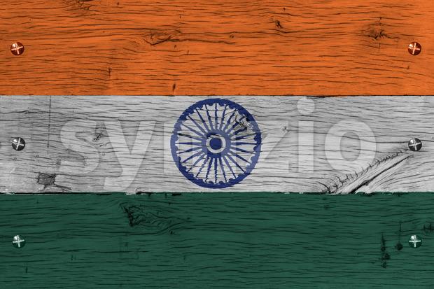 India national flag painted old oak wood fastened Stock Photo