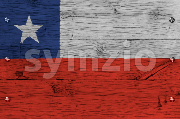 Chile national flag painted old oak wood fastened Stock Photo