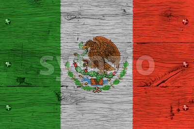 Mexico national flag painted old oak wood fastened Stock Photo