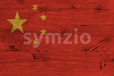 China national flag painted old oak wood Stock Photo