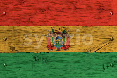 Bolivia national flag painted old oak wood fastened Stock Photo