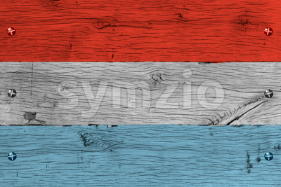 Luxembourg national flag painted old oak wood fastened Stock Photo