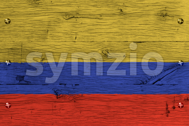 Colombia national flag painted old oak wood fastened Stock Photo