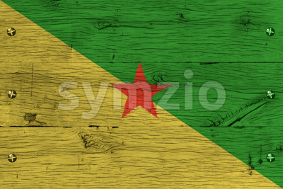 French Guiana national flag painted old oak wood fastened Stock Photo